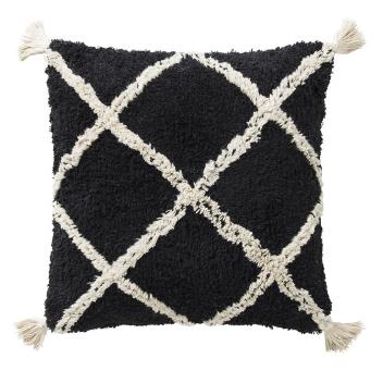 Coussin style Berbère  40 x 40 cm noir Losanges blancs