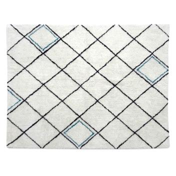 Tapis blanc tendance Marocaine croisillons noir et touche bleue