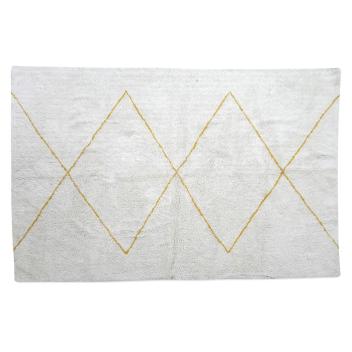 Tapis blanc motif Marocain grands losanges coloris Miel