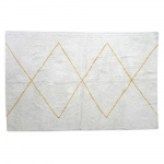 Tapis blanc motif Marocain grands losanges jaunes