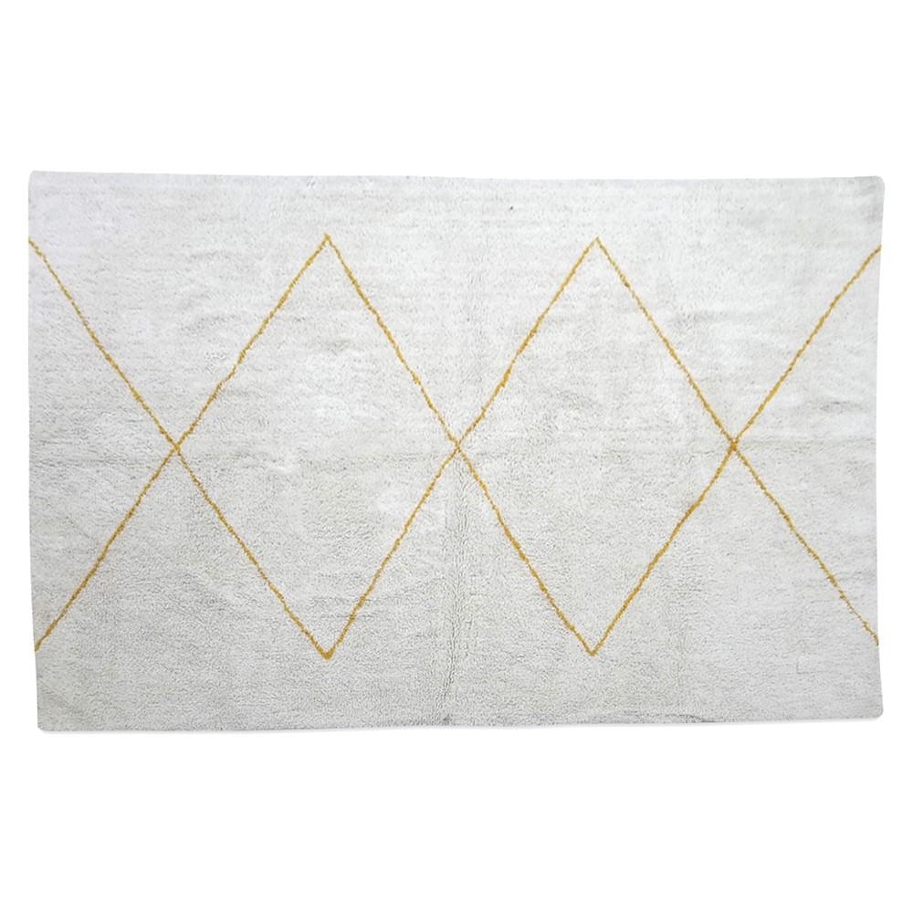 tapis blanc style maroc en coton grands losanges coloris miel. Black Bedroom Furniture Sets. Home Design Ideas