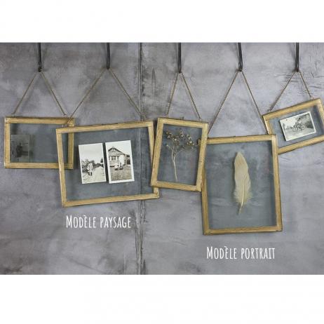 Cadre Photo à suspendre en laiton 20 x 25 cm avec chaîne