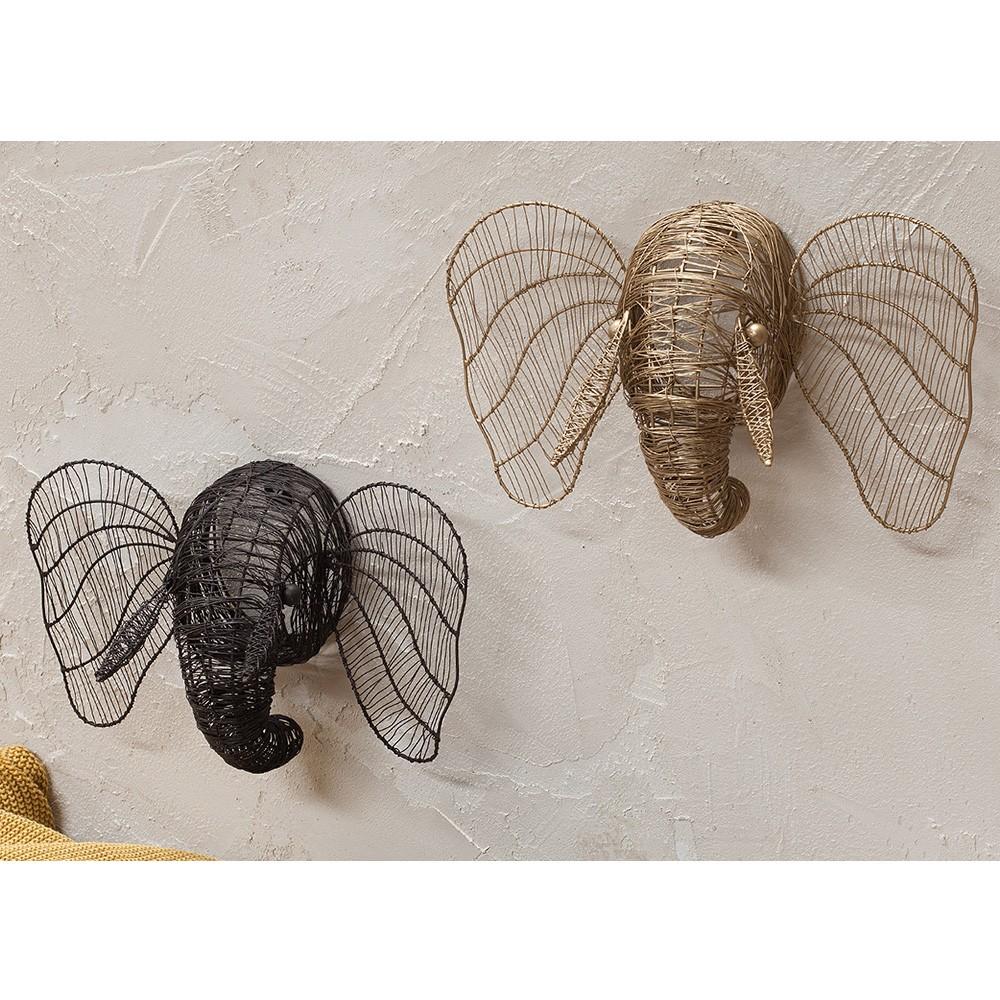 d coration murale animale t te d 39 l phant en m tal dor. Black Bedroom Furniture Sets. Home Design Ideas