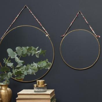 Miroir rond doré lien tissu Liberty