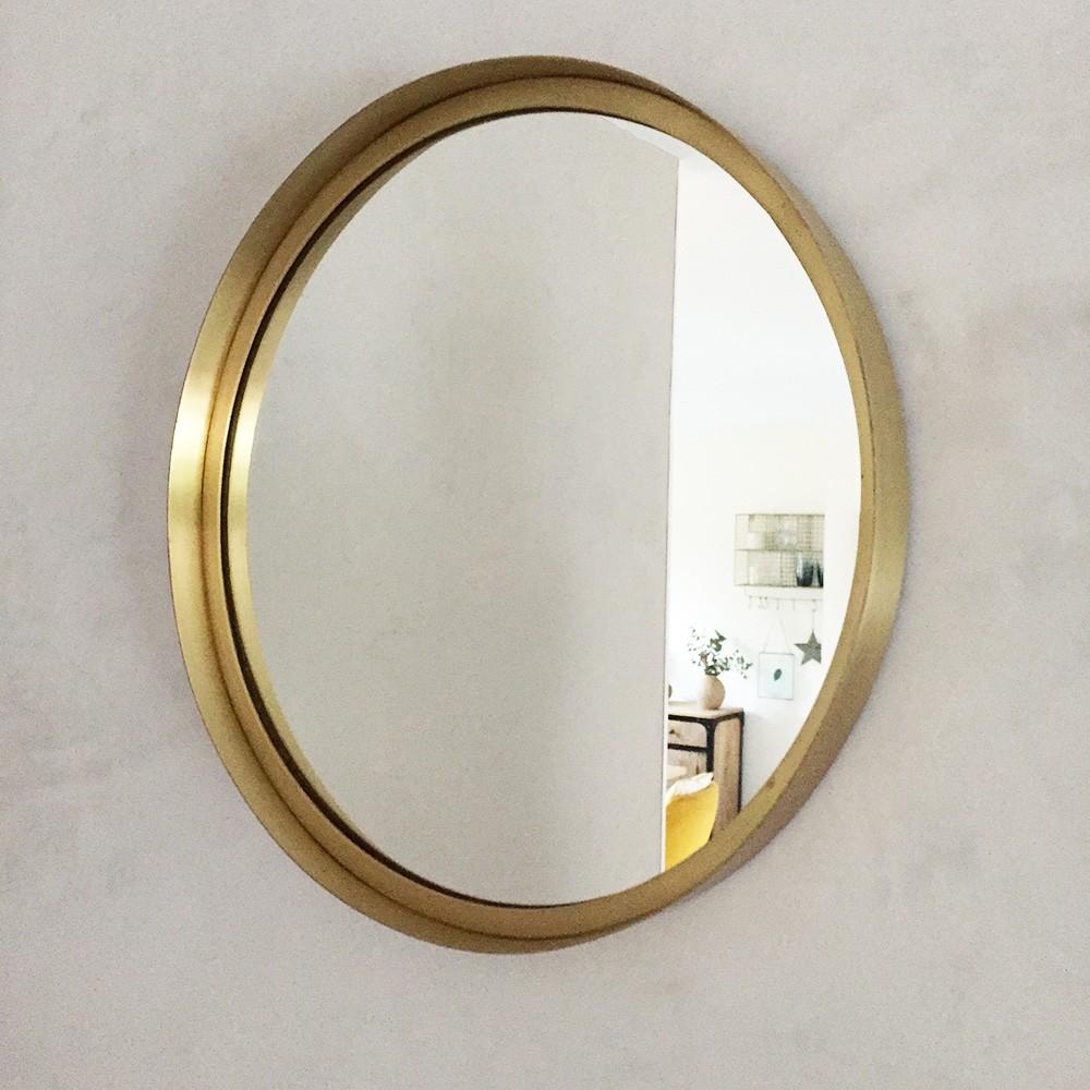 grand miroir rond en m tal dor d 40cm. Black Bedroom Furniture Sets. Home Design Ideas