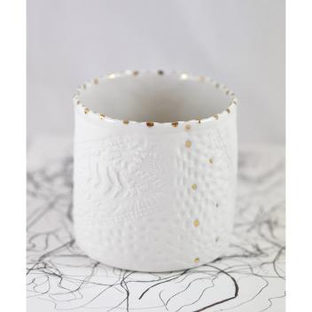 Vase Pluie D'or S Blanc en Porcelaine Myriam Aït Amar