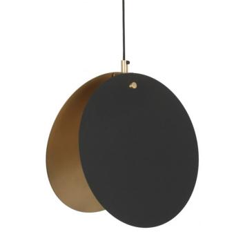 Suspension Lune Noire - Cercles métal intérieur Doré