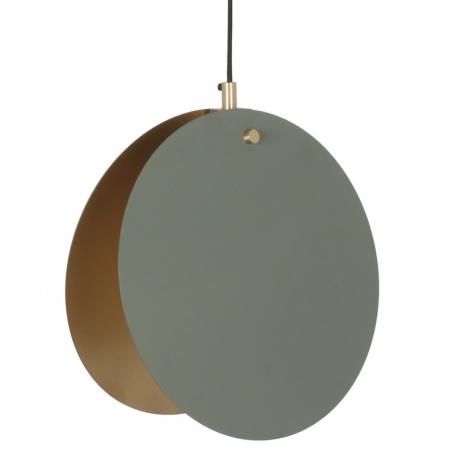 Suspension Lune Noir - Cercles métal Noir intérieur Doré