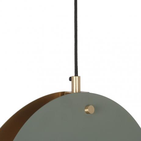Suspension Lune Cercles métal vert mat intérieur Doré