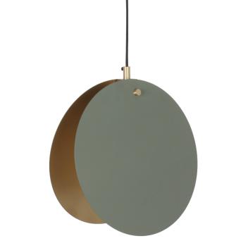 Suspension Lune Verte Cercles métal Vert Olive intérieur Doré