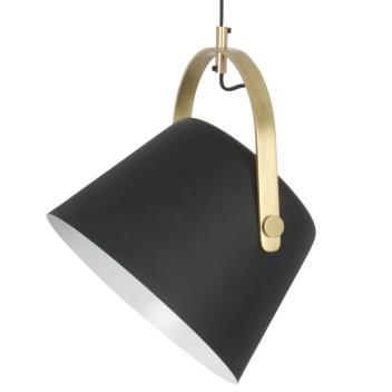 Suspension Abat Jour Métal Noir mat et Doré 30 cm