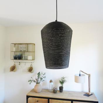 Suspension métal tressé avec points - Coloris noir / intérieur or