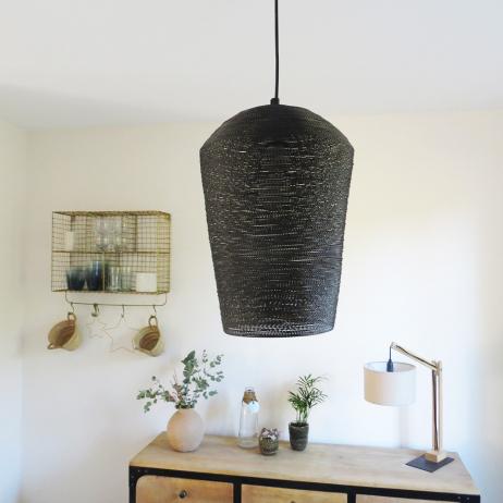 Suspension métal tressé coloris noir intérieur or