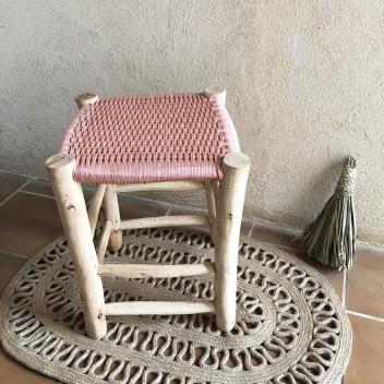 Tabouret Marocain en bois et tissu rose tressé