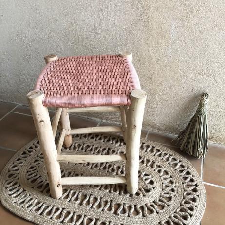 tabouret boucherouite en bois et coton