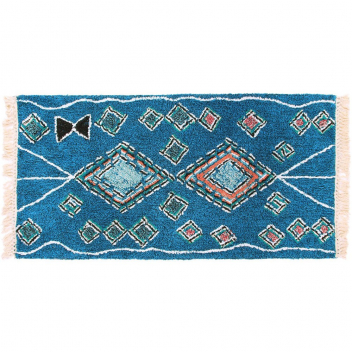 Tapis style Berbère motifs coton bleu - Losanges