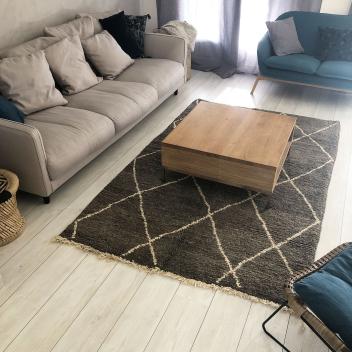 Tapis Béni ouarain marron losanges écru 250 x 150 cm