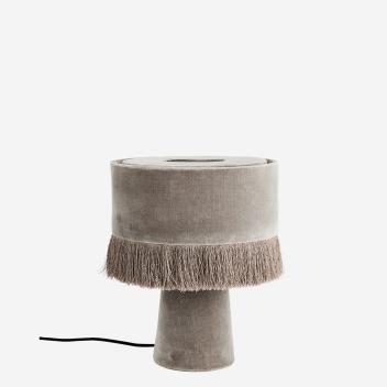 Lampe à poser ou chevet avec franges en velours gris Madam Stoltz