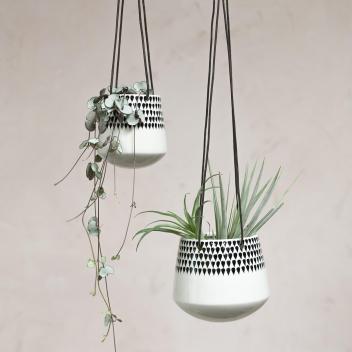 Pot suspendu Nkuku en céramique pour plantes avec corde