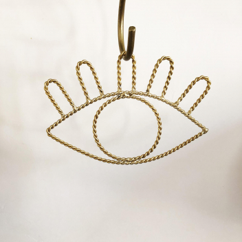 """Décoration """"Oeil"""" en métal filaire torsadé doré à accrocher"""