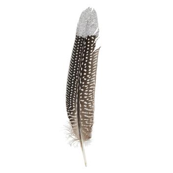 Plume d'oie Marron et blanche avec paillettes - Vendue seule