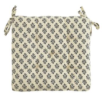 Coussin ou Galette de chaise Coton Blanc écru et bleu - Mme Stoltz