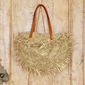 Sac Demi Lune Raphia Naturel anses cuir Marron - Fait main à Bali