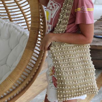Sac Perle de bois coloris Naturel doublé coton - Fait main à Bali