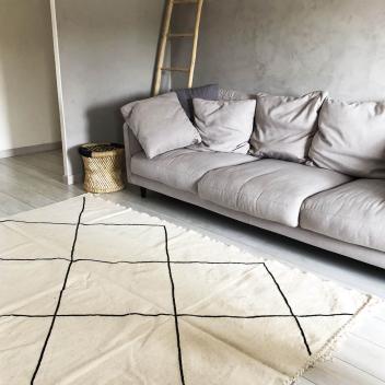 Tapis Marocain Kilim L Noir et écru 250 cm x 140 cm