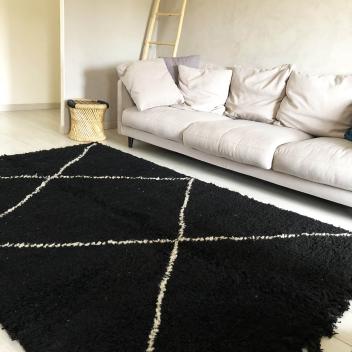 Tapis Béni ouarain Noir Losanges Blancs - écrus 245 cm x 170 cm