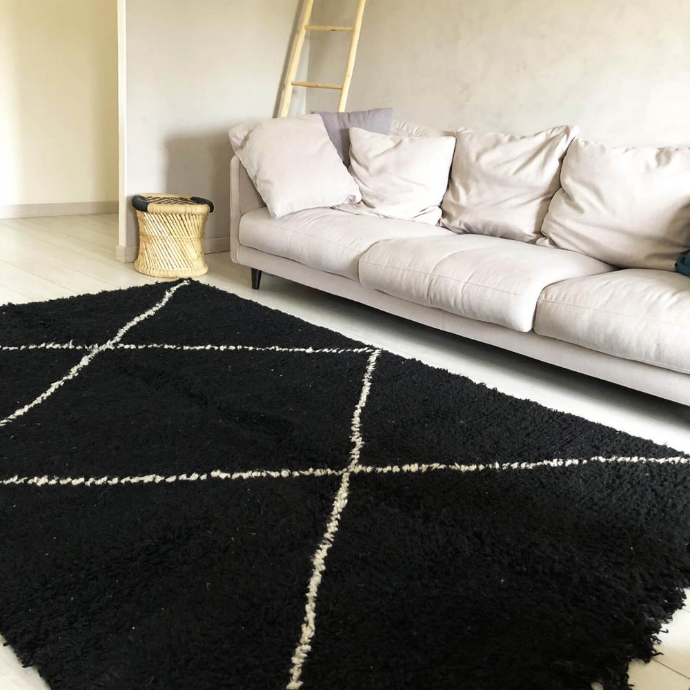 Tapis Beni Ouarain Noir tapis béni ouarain noir losanges blancs - écrus 245 cm x 170 cm