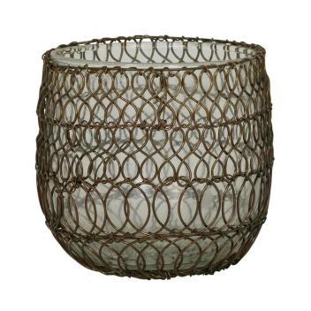Photophore ou pot pour plantes en verre et métal doré