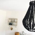 Suspensionde Bali en perles de bois Noir
