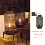 Lampe à poser métal - lanterne électrique coloris bronze