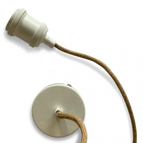 Suspension Douille en céramique blanche cordon tissu