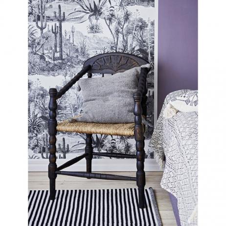 Tapis en coton recyclé Rayures Noires - blanches Liv Interior