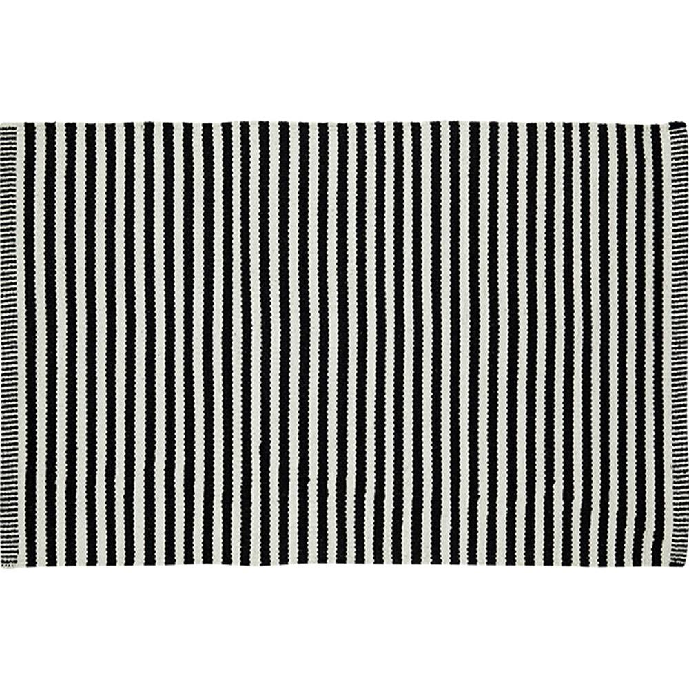Tapis de qualité rayé Noir - Blanc Coton recyclé Liv Interior