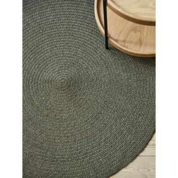 Tapis Rond taille L en coton recyclé Vert Kaki Liv Interior