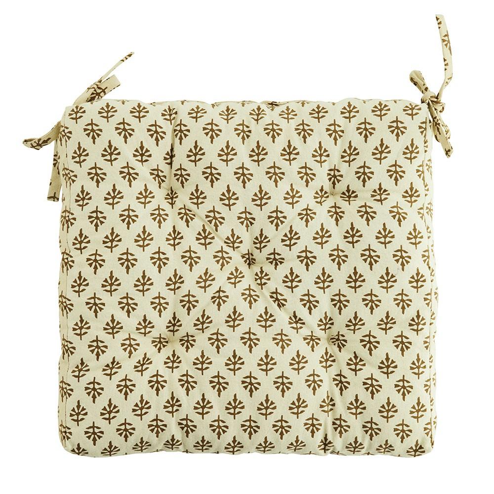 Coussin ou Galette de chaise Coton coloris beige / or - Mme Stoltz