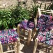 Grand tabouret boucherouite en bois et coton