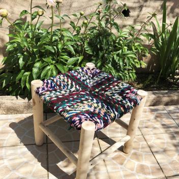 Tabouret boucherouite XL 40 cm en bois et coton tressé