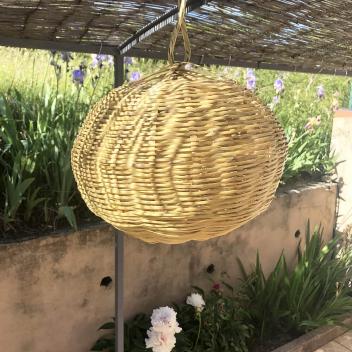 Suspension ou lustre forme ovale en roseau naturel tressé - 2 Tailles