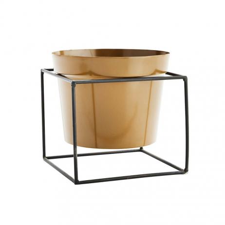 Pot pour plantes en métal moutarde + structure