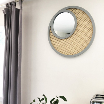 Grand Miroir XL Gris en Cannage Rotin naturel Tressé