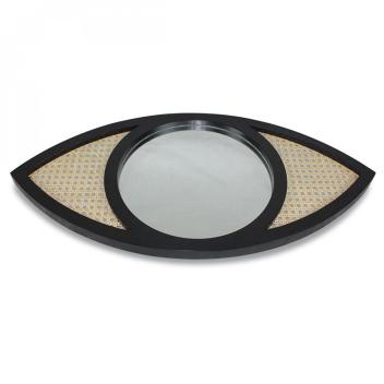 Miroir XL oeil Noir en bois et Cannage Rotin naturel