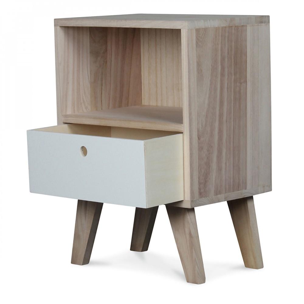 Petite Table De Nuit Bois table de chevet scandinave en bois coloris boréal - 1 tiroir