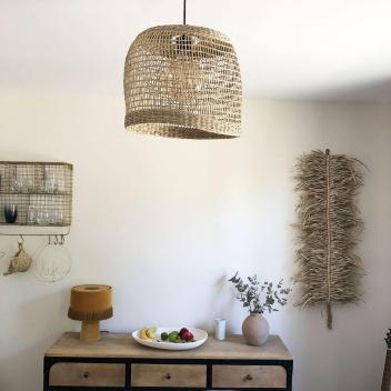 Luminaire Bohème et naturel Solène en fibres végétales tressées