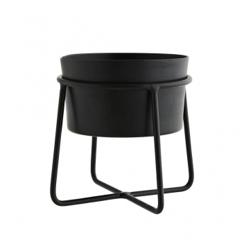 Petit pot sur pied pour plantes ou bougies structure en métal noir, Stoltz