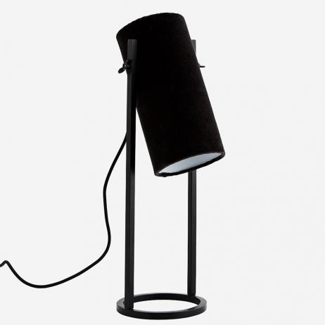 Lampe à poser ou chevet en velours Noir charbon Madam Stoltz