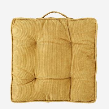 Coussin ou galette de chaise Moutarde Velours côtelé garni Coton